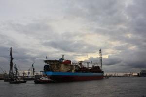 Cargo ship in Hamburg Port