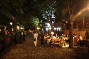 Skadarska pedestrian street near historical center. Full of restaurants, live music and cafes.